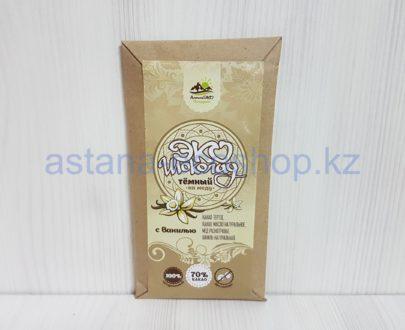 Эко-шоколад темный (какао, мед, ваниль), без сахара- 75 г