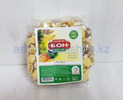 Сухой мюсли (завтрак) 'Бон', Экзотик (хлопья, изюм, курага, ананас, банан, кунжут), без сахара — 180 г