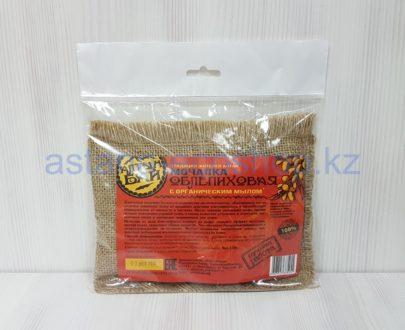 Льняная мочалка 'Облепиховая' со вшитым мылом (облепиховое масло), ручная работа — 130 г