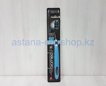 Зубная щетка с древесным углем (2024 щетинки), синяя, средняя жесткость