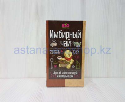 Имбирный черный чай 'Bio national' с корицей и кардамоном — 34 г (20 пакетиков)