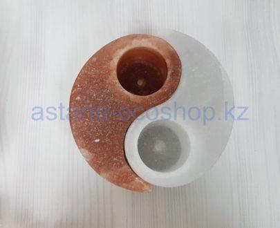 Подсвечники из гималайской соли 'Инь-Янь' (2 шт.), без электричества — 1,6 кг (7x17x17 см)