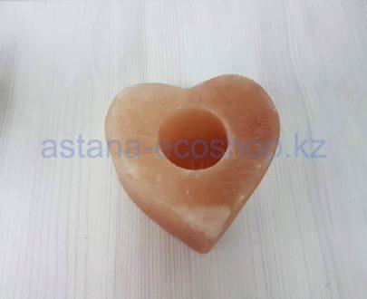 Подсвечник из каменной соли 'Сердце', без электричества — 0,7 кг (10,1×10,9×10,9 см)