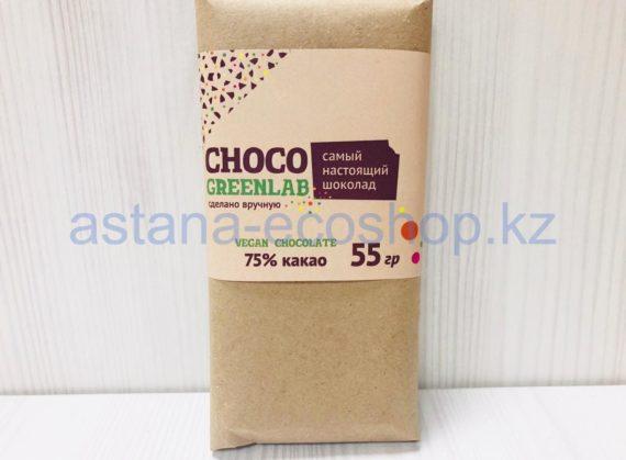 Шоколад 75 % какао, с сиропом топинамбура (без сахара, веган) — 55 г