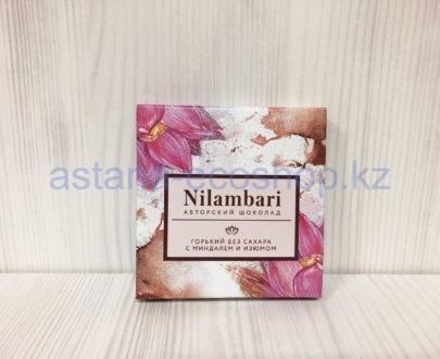 Авторский шоколад горький, с миндалем и изюмом (без сахара) — 65 г