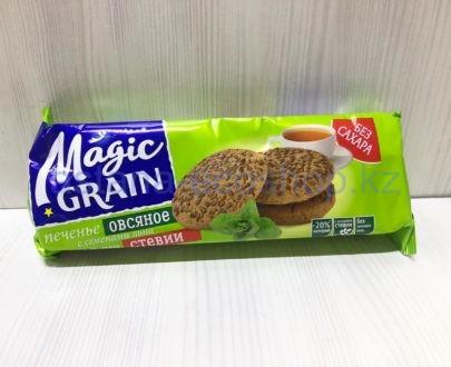 Печенье овсяное Magic Grain с семенами льна, с экстрактом стевии (бех сахара) — 150 г